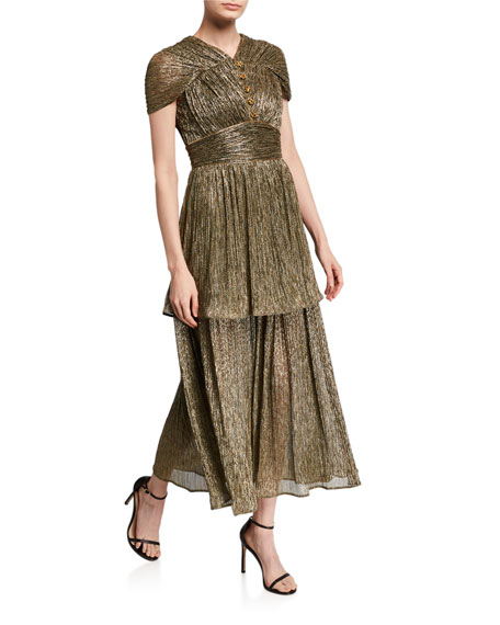 Metallic Jersey V-Neck Ruffled Dress