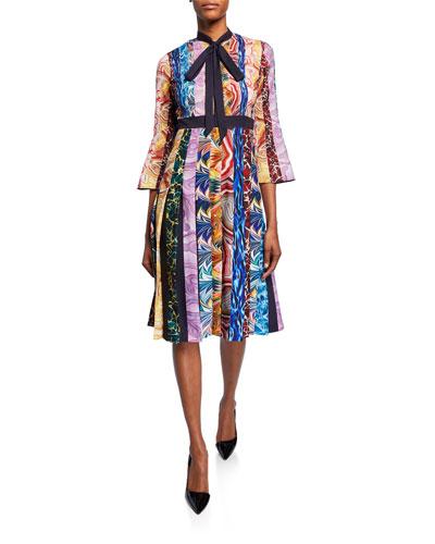 Multi-Striped Tie-Neck A-line Dress