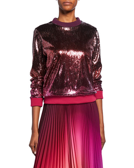 Ombre Sequined Crewneck Sweater