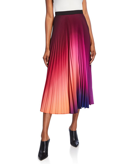 Dip-Dyed Pleated Midi Skirt