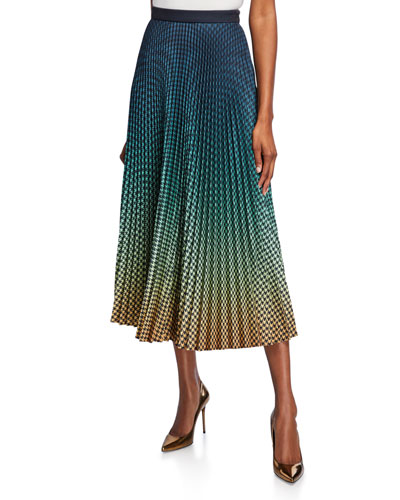 Ombre Houndstooth Pleated Midi Skirt
