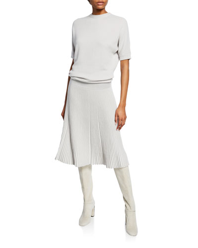 Cashmere-Silk Short-Sleeve Pleated Dress