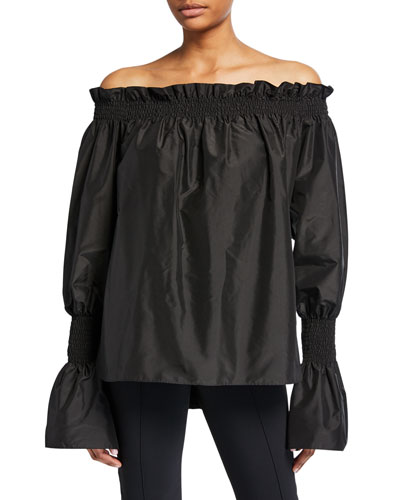 Taffeta Off-the-Shoulder Bell-Sleeve Top