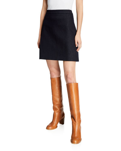 Denim A-Line Zip-Back Skirt