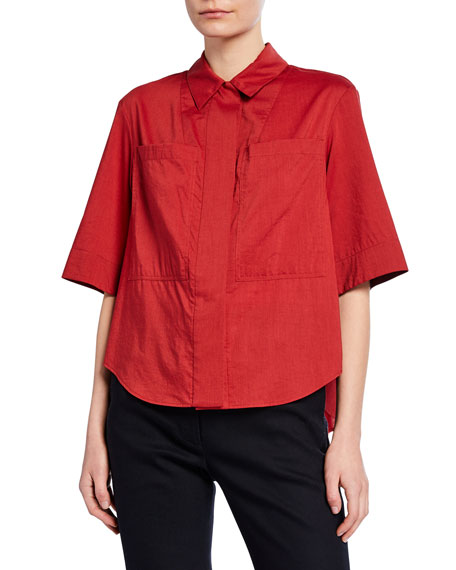 Adam Lippes Short-Sleeve Cotton-Voile Safari Shirt