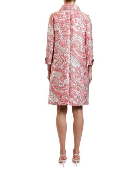 Jewel-Button Jacquard Coat