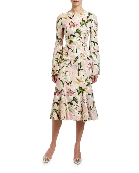 Dolce & Gabbana Long-Sleeve Lily Floral Cady Dress