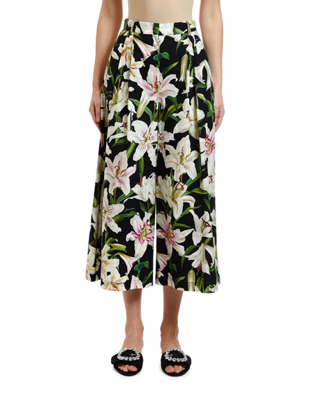 Dolce & Gabbana Lily Floral Poplin Cropped Wide-Leg