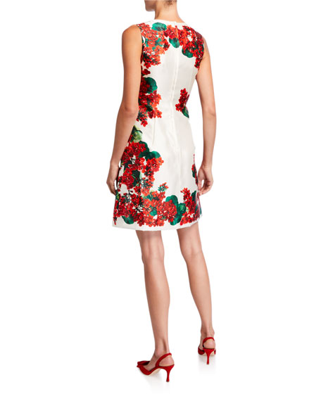 Geranium-Print Silk Sleeveless Dress