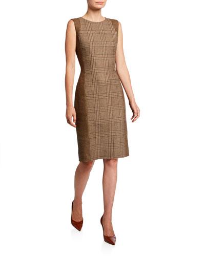 Checked Wool Sleeveless Sheath Dress