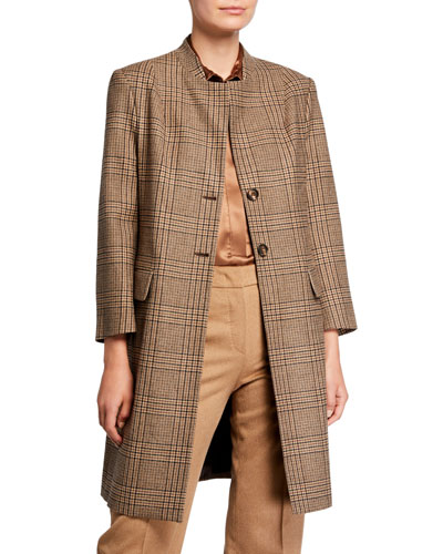 Long Checked Suiting Coat