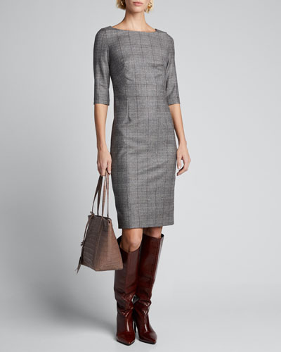 Half-Sleeve Check Dress