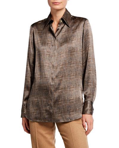 Silk Checkered Button-Front Blouse