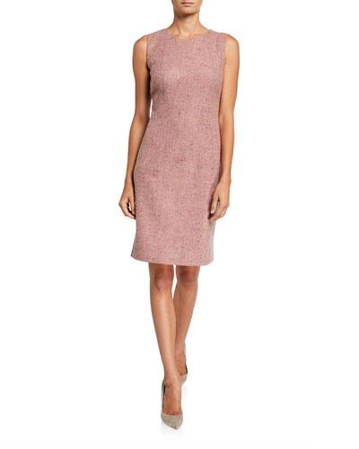 Sleeveless Silk-Wool Sheath Dress