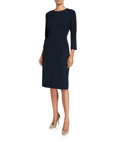 Crepe 3/4-Sleeve Faux-Wrap Dress