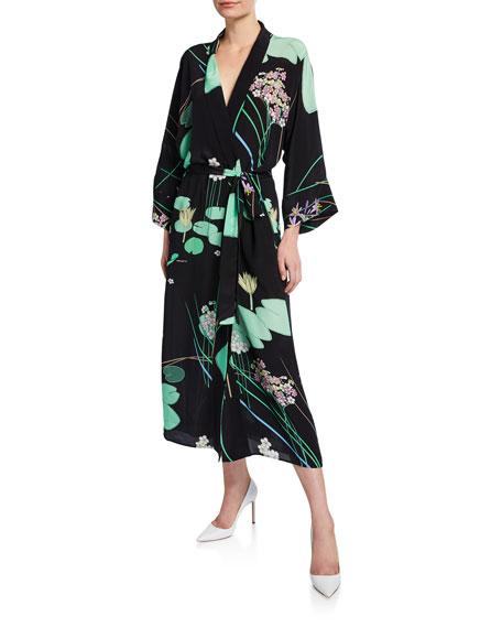BERNADETTE Floral-Print Crepe de Chine Peignoir Dress