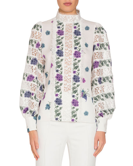 Andrew Gn Long-Sleeve Printed Silk Blouse with Lace