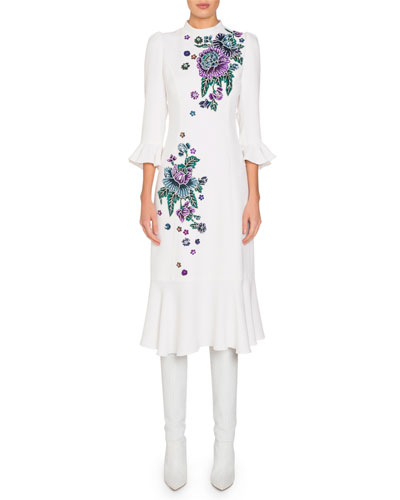 Mock-Neck Flare-Sleeve Midi Dress w/ Floral Embroidery