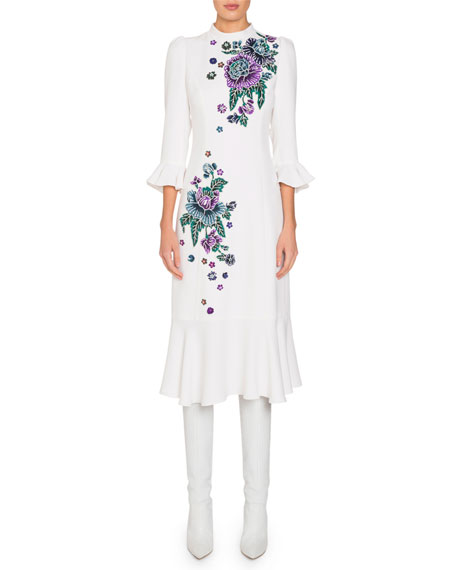 Andrew Gn Mock-Neck Flare-Sleeve Midi Dress w/ Floral