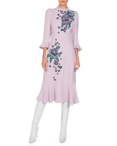 Mock-Neck Flare-Sleeve Midi Dress w/ Beaded Floral Embroidery
