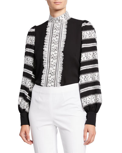 Lace-Trim Long-Sleeve Silk Blouse