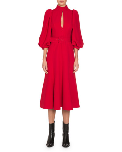 Mock-Neck Keyhole-Front 3/4-Sleeve Belted Midi Dress