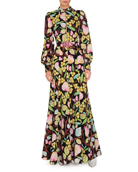 Printed Silk Long-Sleeve Dress with Belt