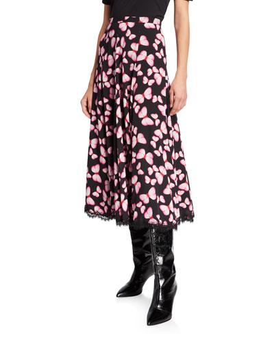 Butterfly-Print Silk Godet Panel Skirt