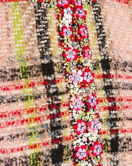 Floral Embroidered Fringe Tweed Coat