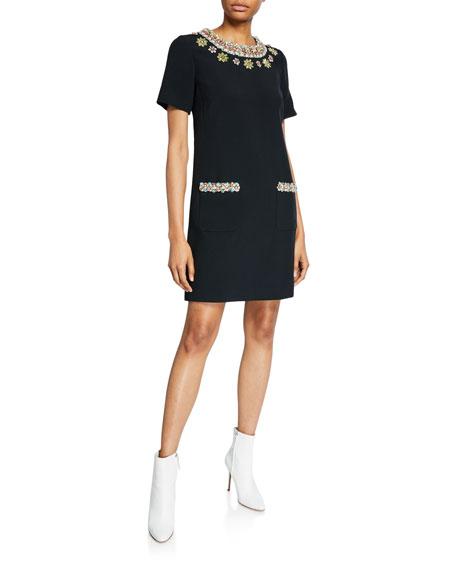 Floral-Jeweled Short-Sleeve Dress