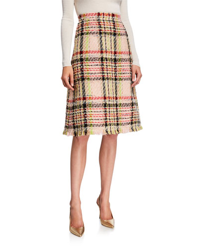Tweed A-Line Knee-Length Skirt
