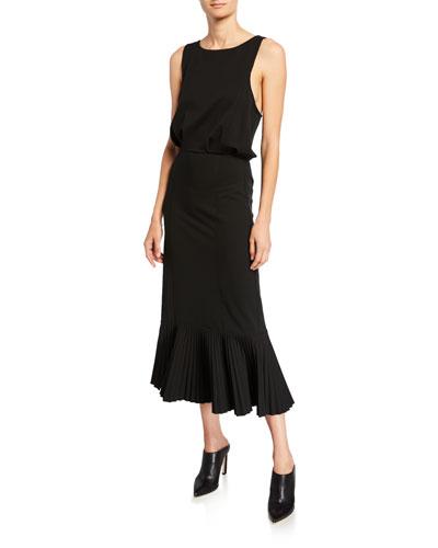 Sleeveless Pleated Flounce-Hem Dress