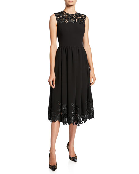 Sleeveless Faux-Leather Lace Dress