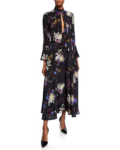 Firework Floral-Print Chiffon Keyhole Midi Dress