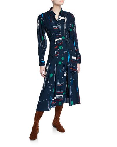 Paint-Print Midi Shirtdress