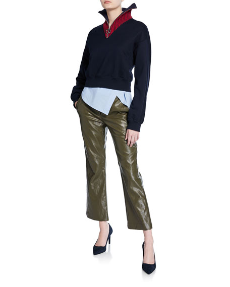 Cropped Faux-Leather Pants