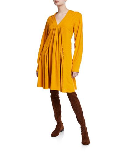 Long-Sleeve V-Neck Pleated Swing Dress
