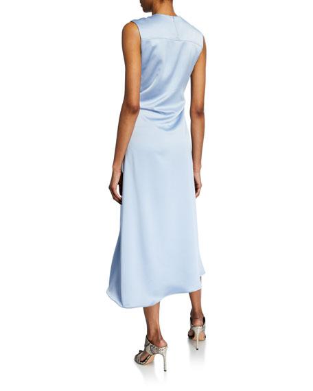 Satin Knotted-Waist Dress