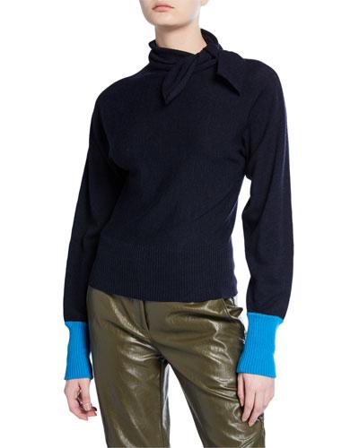 Contrast-Cuff Tie-Neck Sweater