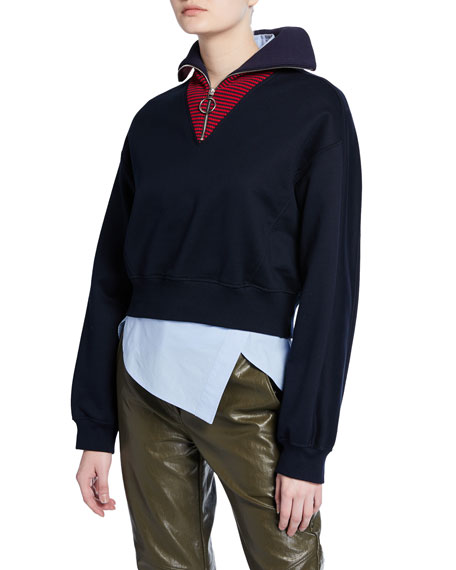 Cedric Charlier Long-Sleeve Zip-Front Sweater