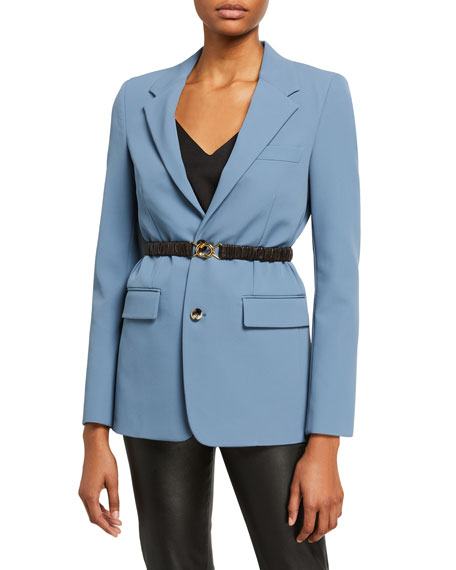 Crepe Blazer Jacket w/ removable Leather Belt
