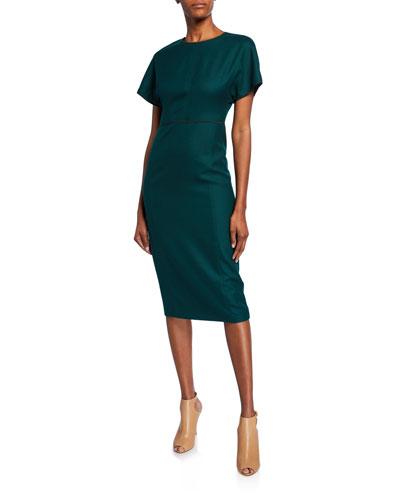 Sateen Crewneck Midi Dress