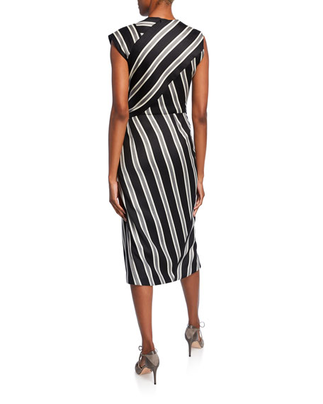 Striped Ruched Boat-Neck Dress
