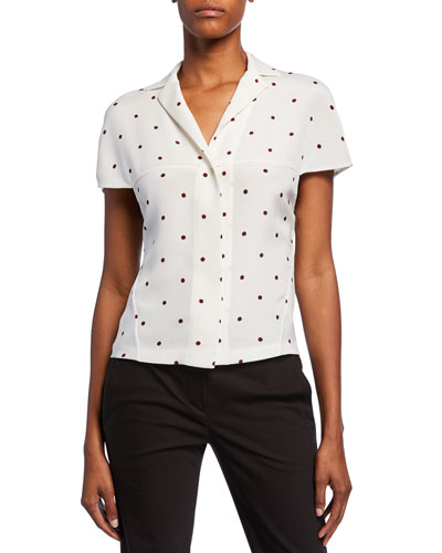 Polka Dot Notched-Collar Short-Sleeve Silk Blouse