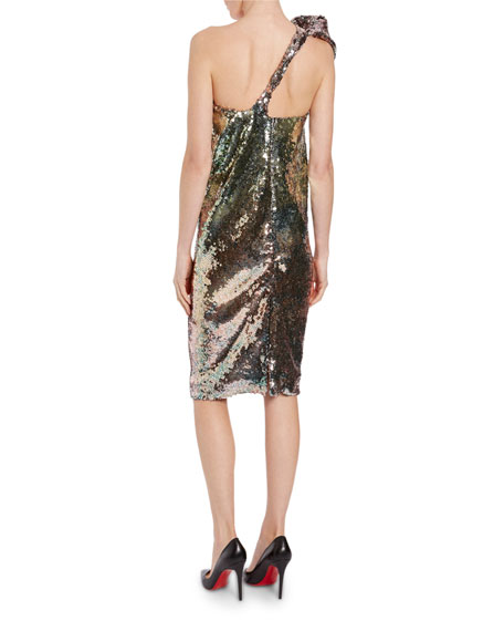 Animal-Print Sequined Cocktail Dress
