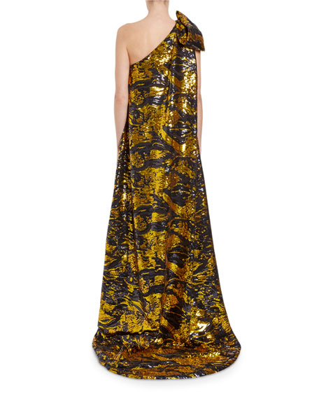 One-Shoulder Swirled Sequin-Bow Gown