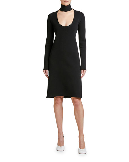 Long-Sleeve Scoop-Cutout Dress