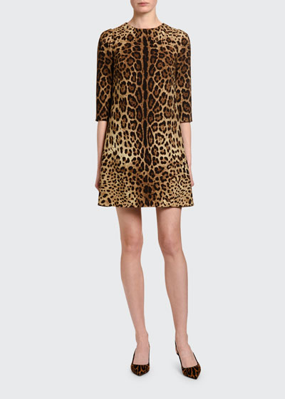 Leopard-Print Crepe 3/4-Sleeve Dress