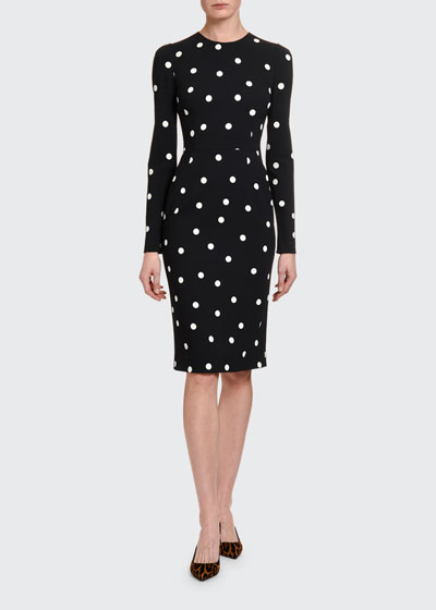 Long-Sleeve Polka-Dot Cashmere Bodycon Dress