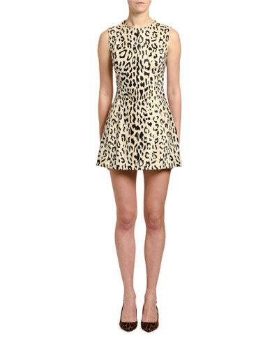 Leopard Print Faux-Fur Dress